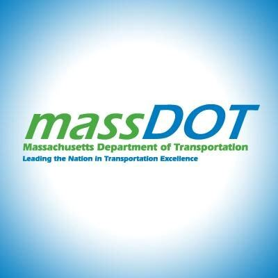 Mass Dot text logo reading Massachusetts department of transportation