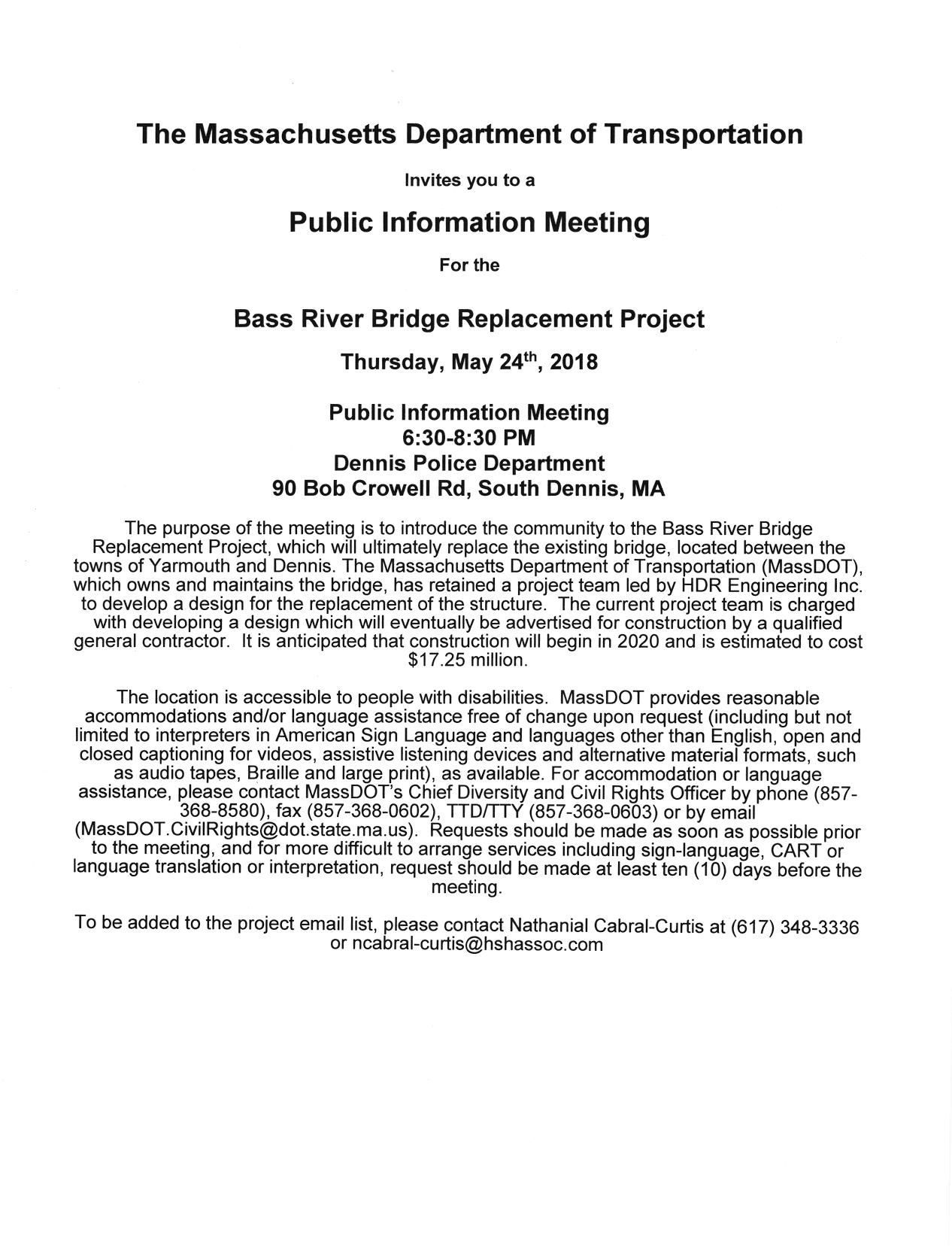 Bass River Bridge project