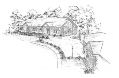 Artist sketch of housing building with path to home