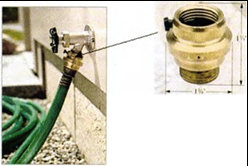 Picture of an actual Vacuum Breaker on a hose bibb.